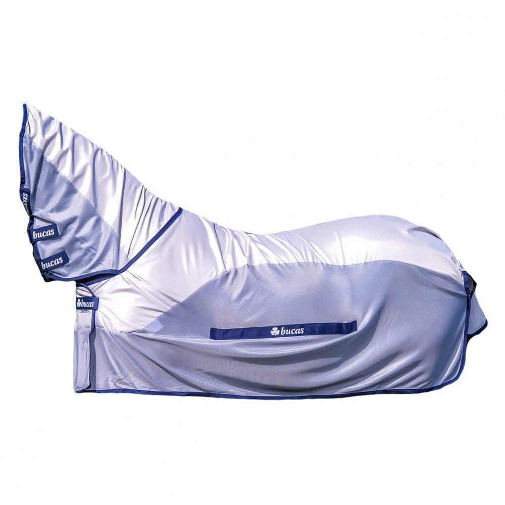 Bucas Buzz-Off Rain Full Neck - Silver/Blue Fliegendecke/Ekzemerdecke, im Rückenbereich wasserdicht und atmungsaktiv