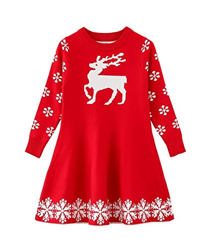 SMILING PINKER Little Girls Christmas Dress Reindeer Snowflake Xmas Gifts Winter Knit Sweater Dresses (2-3T, red)