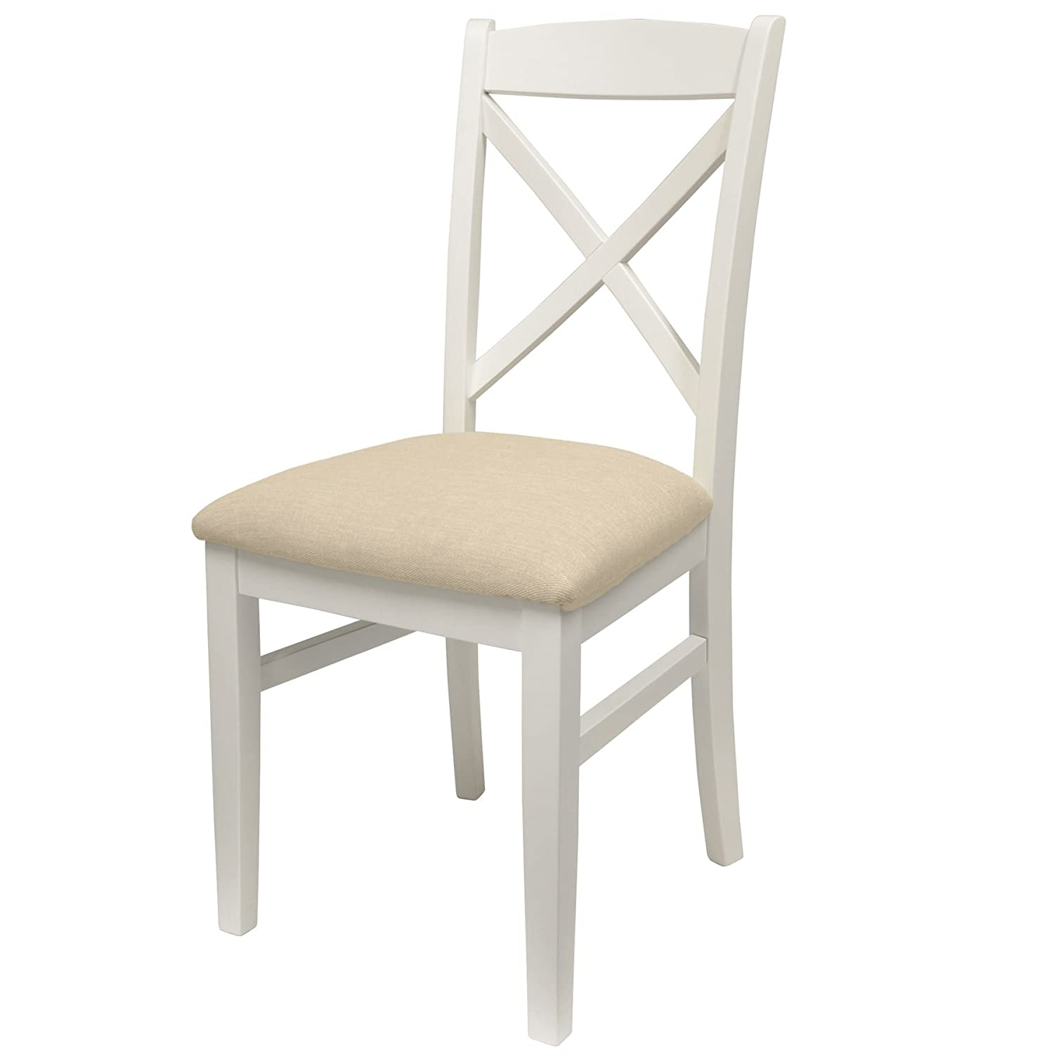 Florence Cross back upholstered chair, Stunning chair with solid construction and firm padded seat (white) Statement Furniture