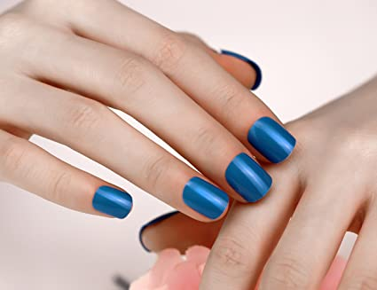 ArtPlus 3 Boxes of 24pcs Blue False Nails French Manicure Full Cover Sports Medium Length with