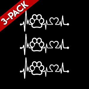 Bargain Max Decals (3X Pack) Paw Heartbeat Sticker Decal Notebook Car Window Laptop
