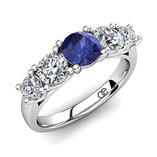 9df8da5ea1081c Anello di Fidanzamento in Argento con Tanzanite e Cristalli Swarovski +  Argento 925 Finissimo + Anelli