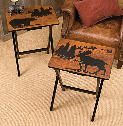 Mountain Getaway Folding Rustic Side Tables - Set of 2 - Cabin (Black Forest Furniture)