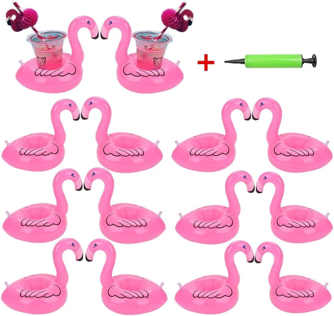qinnsou 14 Pack Flamingo Inflatable Drink Holder Drink Pool floats Cup Holder Floats Inflatable Floating Coasters Float Coaster for Pool Party Water Fun