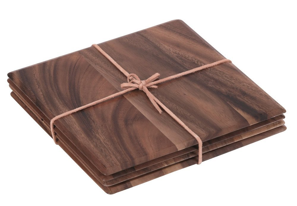 Tuscany Set Of 4 Square Table Mats With Leather Tie In Acacia