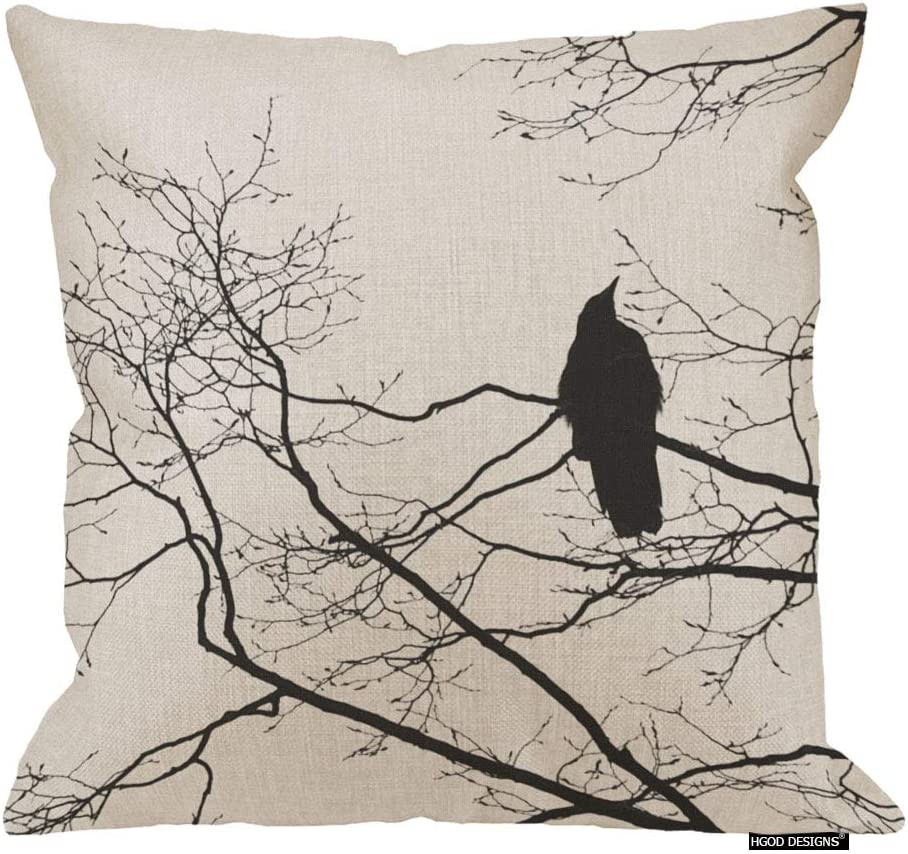 HGOD DESIGNS Modern Cushion Cover Gothic Raven on a Tree Branch Pillow Case Black White (Bird) 18 X 18 Inch
