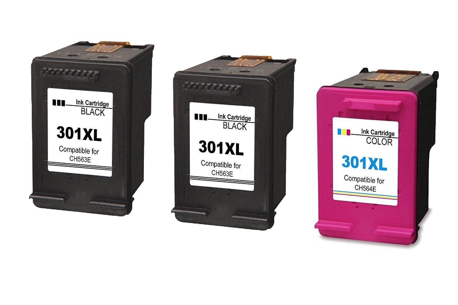 Compatible para HP 301XL Cartuchos Tinta Remanufacturados CH563E/CH564E Cartuchos Inkjet ,2 Color y 1 Negro