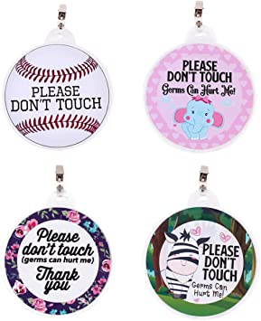 Baby Do Not Touch Signs Stop No Touching Tag w Clip Safety Signs Newborn Boy Girl Infant Preemie Baby Stroller Tags Baby Car Seat