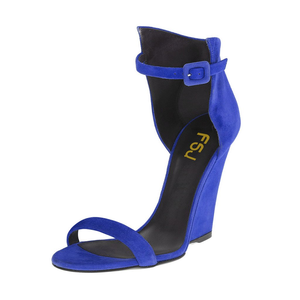 FSJ Women Open Toe Wedge Sandals Ankle Strap Faux Suede High Heels Evening Club Shoes Size 4-15 US B0746HDGHN 11 B(M) US|Royal Blue