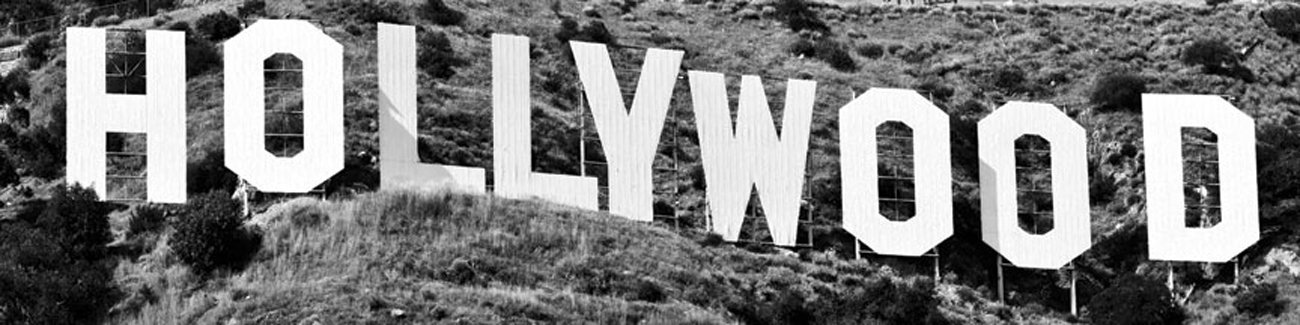 JP London MD4A157 Hollywood Hills Sign Pano City Fully Removable Prepasted Mural at 3-Feet High by 12-Feet Wide, Black and White