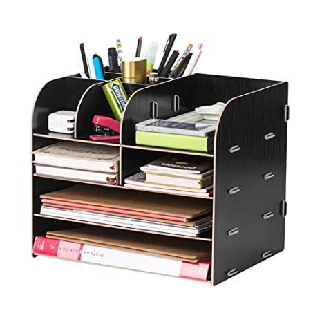 Attirant Desk Organizer Wooden Home Office Workspace Desktop Desk Organizer Filing  Organiser Paper File Folder Racks Holders