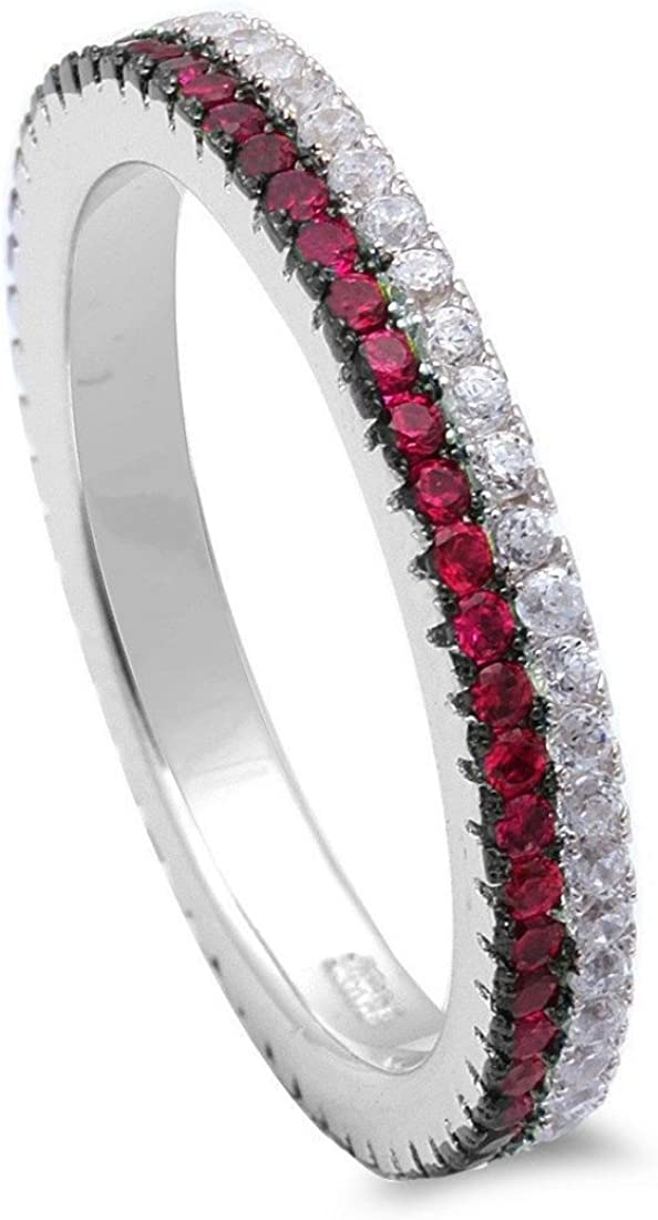 Blue Apple Co. 3mm Full Eternity Stackable Thin Red Line Simulated Ruby Round Cubic Zirconia Solid 925 Sterling Silver 4-11