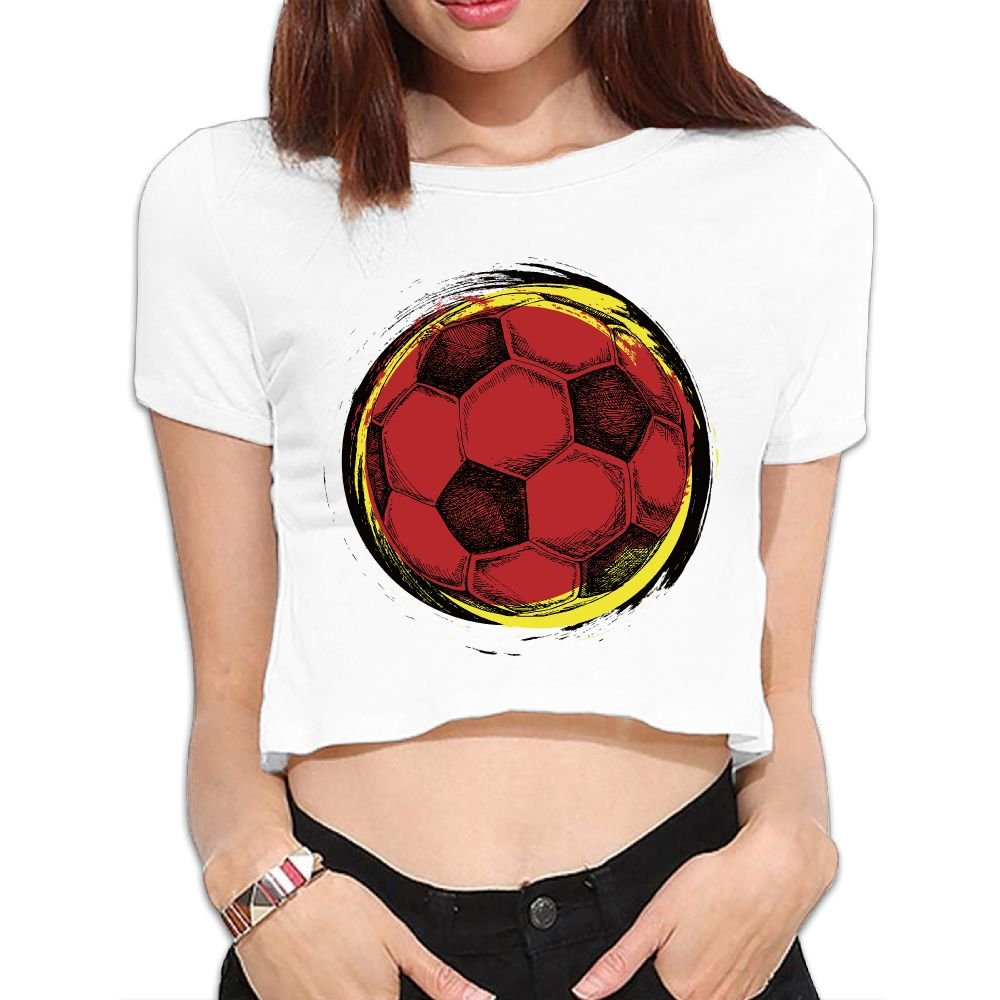 Amazon.com  Women Crop Top Midriff Leisure Round Neck Soccer Short Sleeves  T Shirt  Clothing d3dbdc14ed