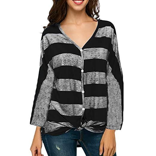 SMALLE ◕‿◕ Clearance,Women Casual Autumn V Neck Stripe Print Button Bandage Long