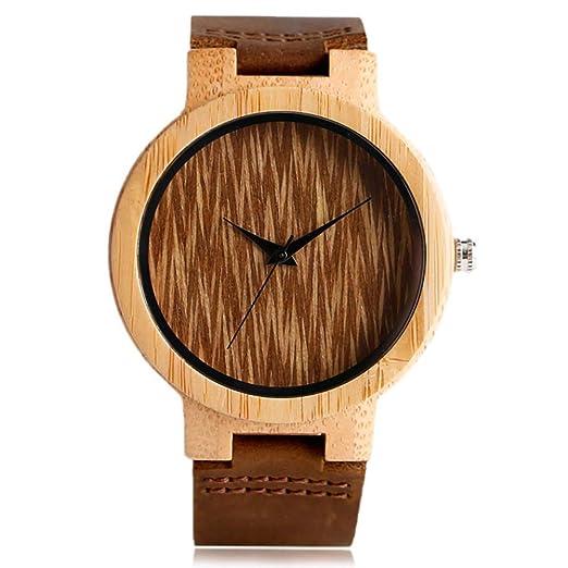 Reloj Vintage para Hombre, Especial Creativo de Madera, Hecho a Mano de bambú, Reloj de Madera Natural: Amazon.es: Relojes