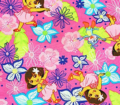 uilt Prints - DORA THE EXPLORER FLORAL s/45 W/Sold by the yard SC-307 (Dora The Explorer Quilt)