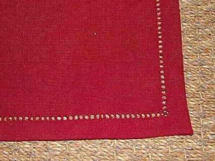 Boite-a-cadeaux Juego de 6 toallas infroissables rojo Uni borde vainica 40 x