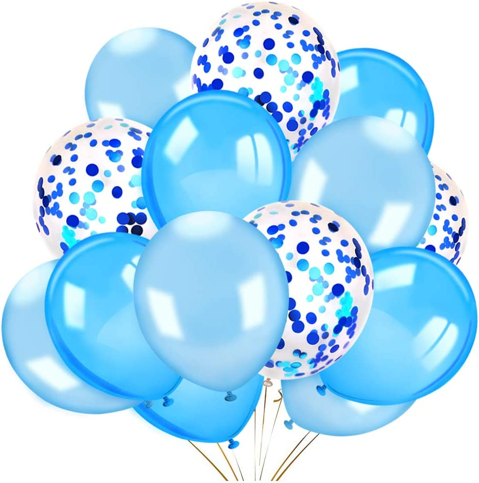 Konsait 60 Pieces 12 Inches Confetti Balloons White & Blue Latex Balloons Helium Balloons Party Supplies for Wedding Birthday Baby Shower Party Decoration