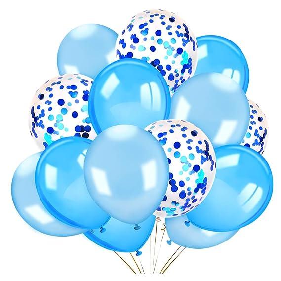 Howaf 40 Piezas 12 Globos de Confeti Globos de látex Blancos y Azules Globos de Helio Perla para Bodas, Fiestas, Propuestas, Navidad, Reuniones, ...