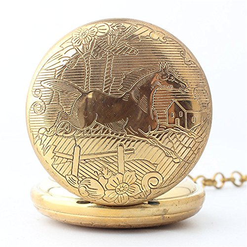 Zxcvlina Classic Smooth Creative Horse Carved Golden Retro Mechanical Pocket Watch with Chain for Unisex Birthday Gift Suitable for Gift Giving by Zxcvlina (Image #3)