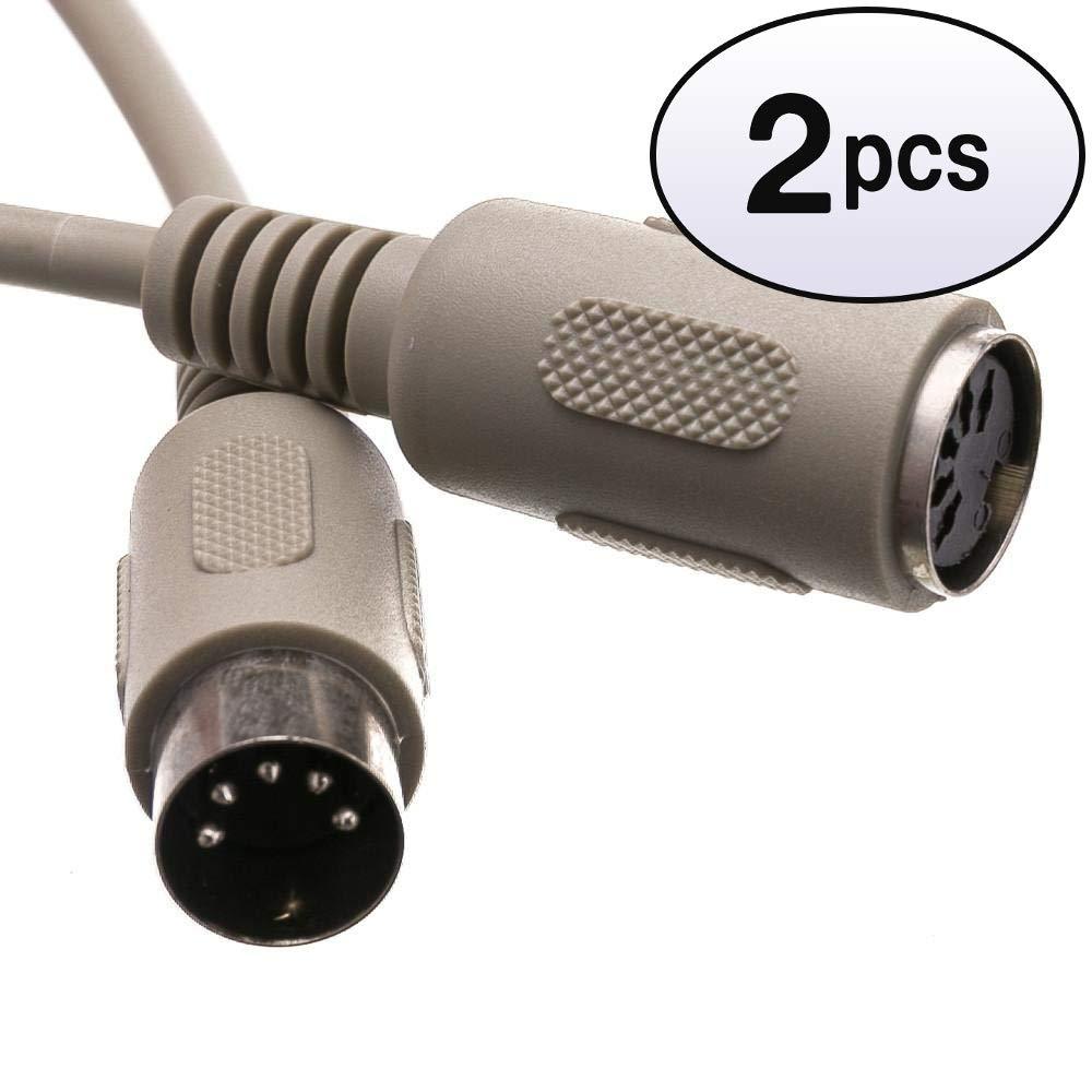 GOWOS (2 Pack) at Keyboard Extension Cable, Din5 Male to Din5 Female, 5 Conductor, Straight, 6 Feet by GOWOS