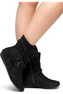 b565b8923a8e Herstyle SHEARLLY Faux Suede Buckled Up Side Zipper Slouch Ankle Booties Flat  Heel Calf Boots(
