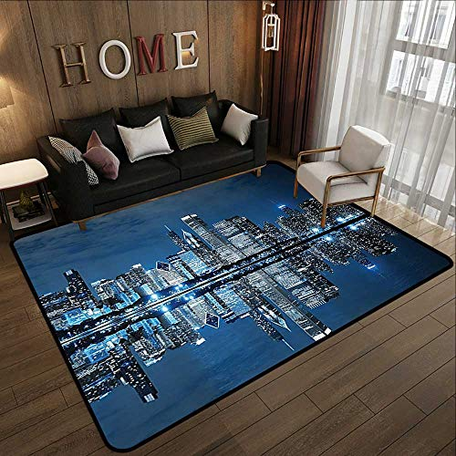 Bathroom mats and Rugs,Americana Cityscape Decor Collection,Modern Art Picture of Water Reflection Chicago Illinois Buildings at Dark Night Sce 59