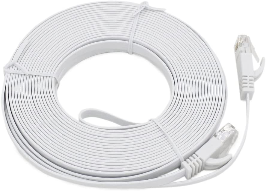 Baby Blue Ethernet Cables Length: 20m LAN Cable CAT6 Ultra-Thin Flat Ethernet Network LAN Cable