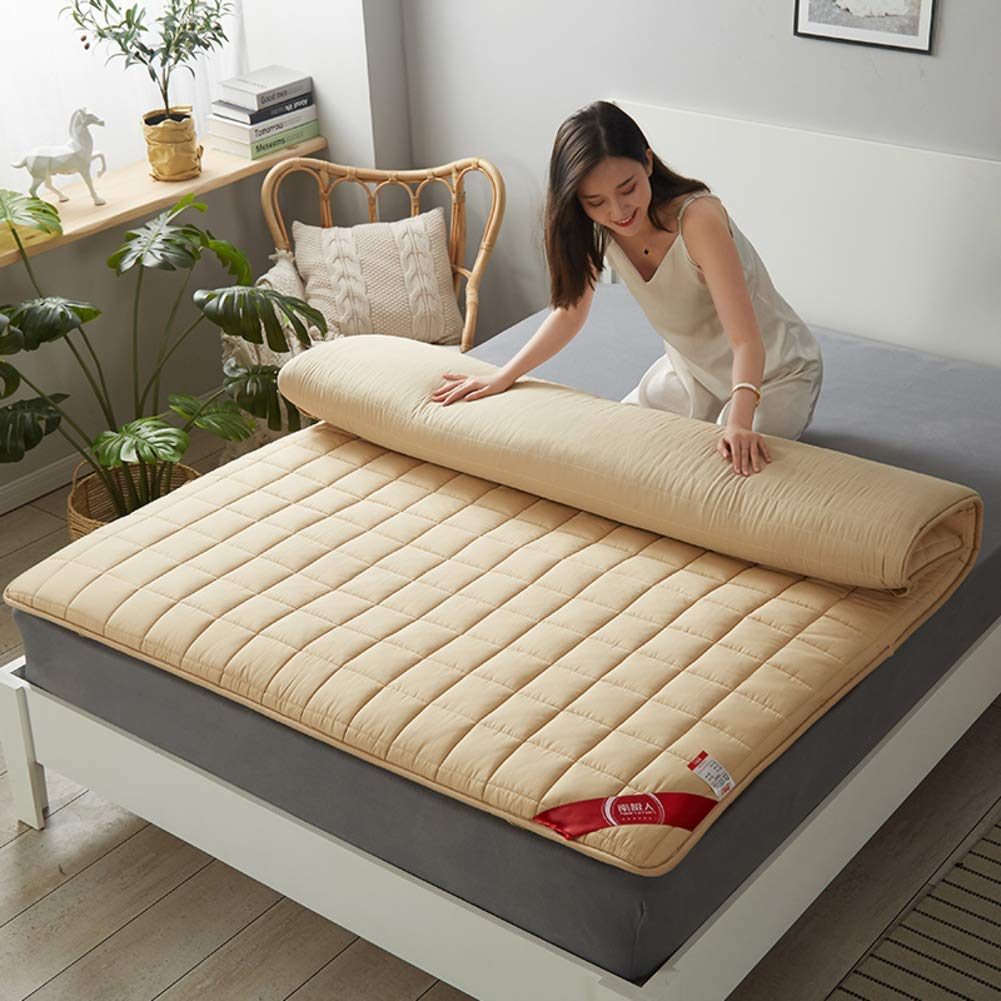 HIGHKAS All Cotton Fabric Mattress,Quilted Breathable Tatami Floor Mat Not-Slip Thicken Futon Collapsible Mattress Pad Back Pain Relief-Khaki 180x200cm(71x79inch)