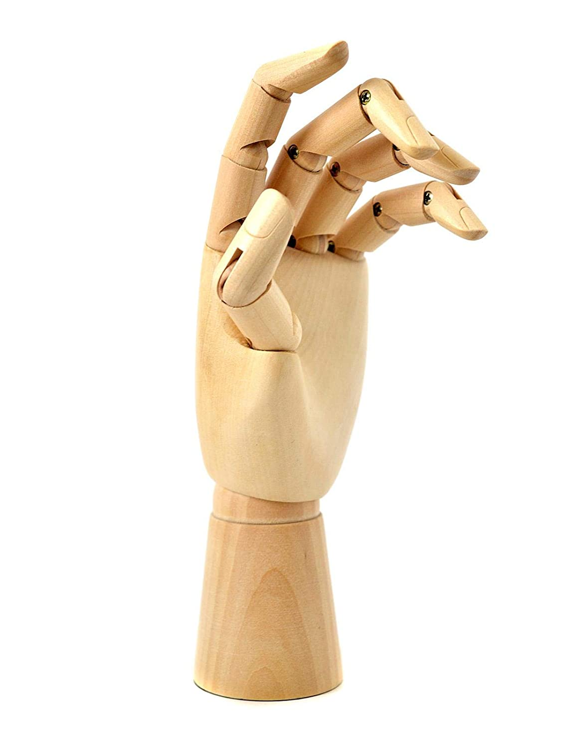 12''Right Wooden Hand Model Flexible Moveable Fingers Manikin Hand Figure HOMLICO