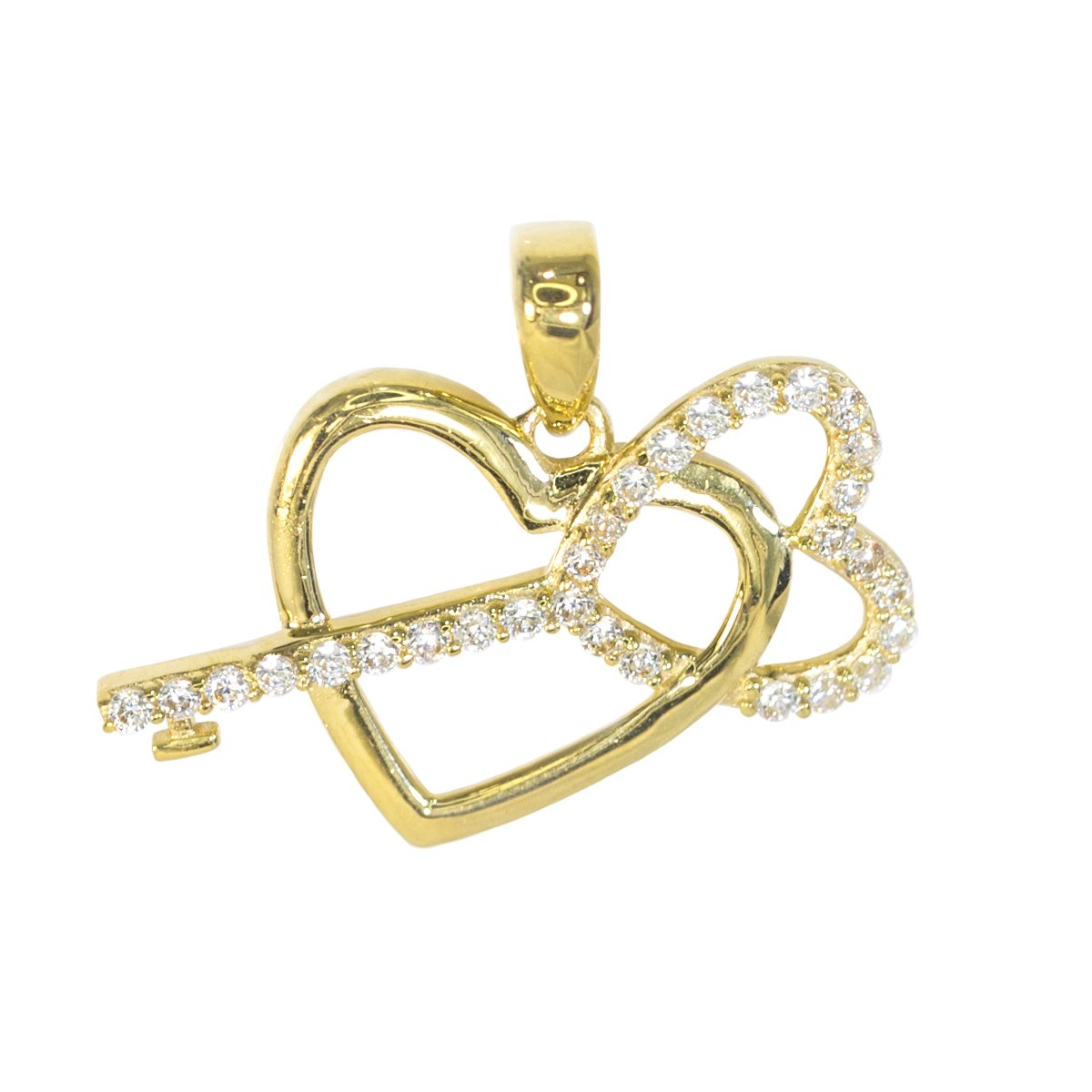 IcedJewels 0.55 cttw Round CZ 10K Yellow Gold Key to my Heart Love Relationship Promise Choker Necklace Charm