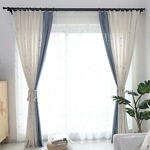 MacoHome Linen Embroidery Curtain Leaves Room Darkening Window Treatment