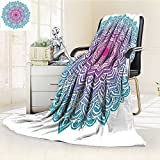 AmaPark Digital Printing Blanket Round Starry with Soft Aqua Color Spiritual Meditation Theme Summer Quilt Comforter