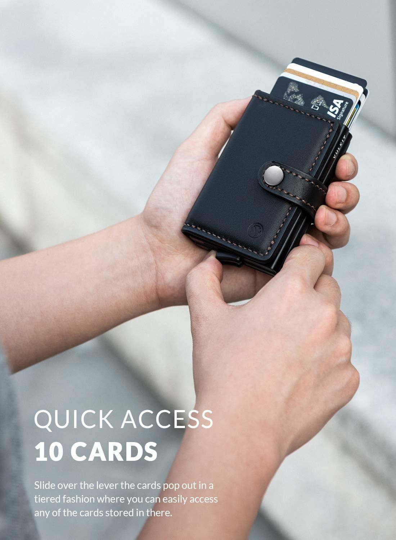 Caramel VULKIT Portefeuille Homme Mince Cuir RFID Anti Piratage Pop-up Porte Carte de Credit Extra 3 Emplacements pour Carte de Cr/édit ou Billets