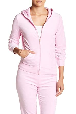 Juicy Couture Velour Floral Frame Robertson Pink Bubble Hoodie Track Jacket  XS eee4088df3