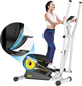 Afully Elliptical Machine Eliptical Trainer with 8 Levels Magnetic Resistance,Tablet Holder, LCD Monitor, Pulse Sensors, Smooth and Quiet for Home Use