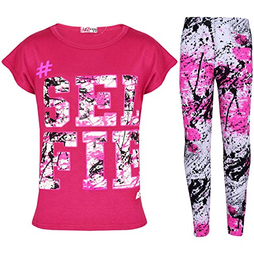 Kids Girls Top Love T Shirt & Splash Print Fashion Legging Set Age 7-13 Years
