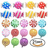 SOTOGO 21 Pieces Sweet Candy Balloons Set Including 13 Pieces 18'' Round Lollipop Balloon Birthday Wedding Party Balloons And 8 Pieces 25'' X 18'' Candy Lollipop Balloons Aluminum Balloons For Birthday