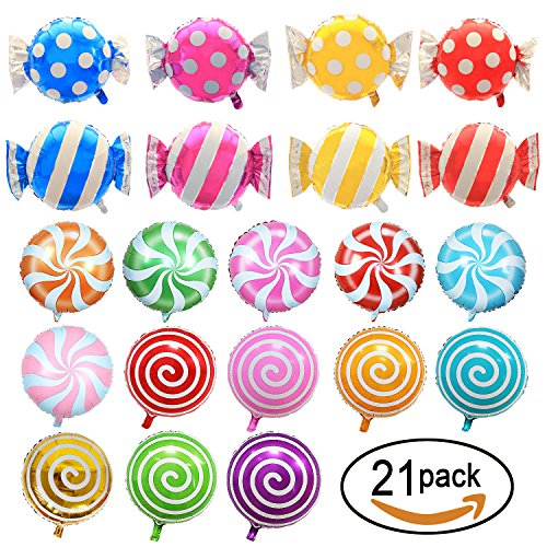 SOTOGO 21 Pieces Sweet Candy Balloons Set Including 13 Pieces 18'' Round Lollipop Balloon Birthday Wedding Party Balloons And 8 Pieces 25'' X 18'' Candy Lollipop Balloons Aluminum Balloons For Birthday by SOTOGO