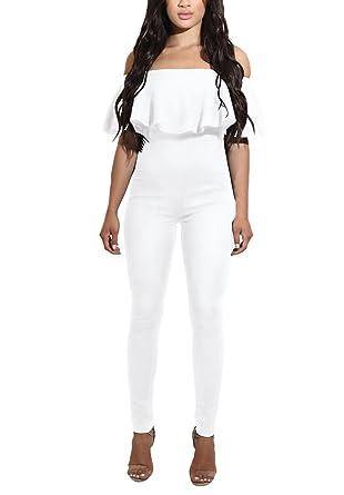 Combinaison Femme Pantalon Long Chic Soiree One Piece Jumpsuit Épaule  Dénudée Casual Slim Col Bateau Rompers 010cc93ab212
