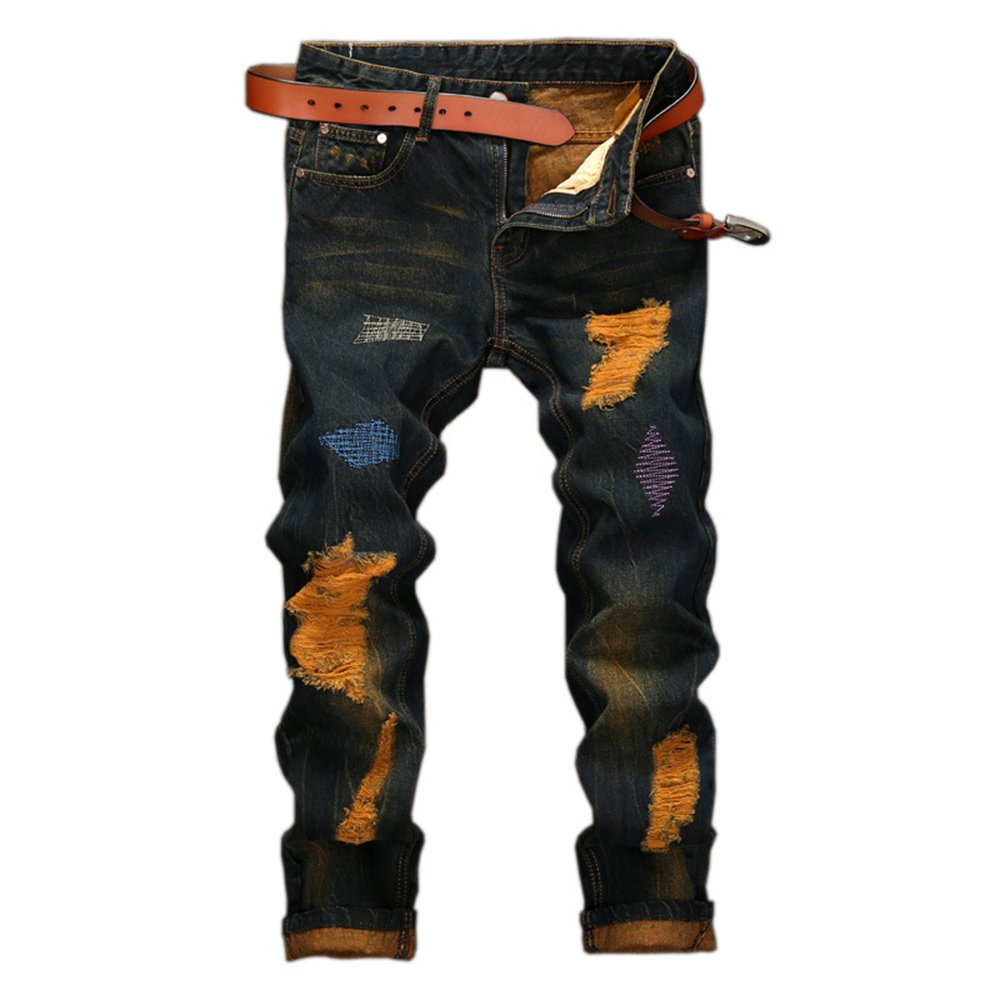 WEEN CHARM Men's Ripped Slim Fit Tapered Leg Jeans Vintage Style With Broken Holes,Retro Black01,30W