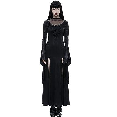 e79671d7135d6 Punk Rave Black Gothic Fashion Vintage Sexy Lace Split Long Sleeve ...