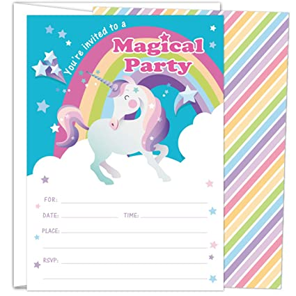 Gooji Rainbow Unicorn Party Invites Large 25pcs Double Sided Invitations With 25 Envelopes