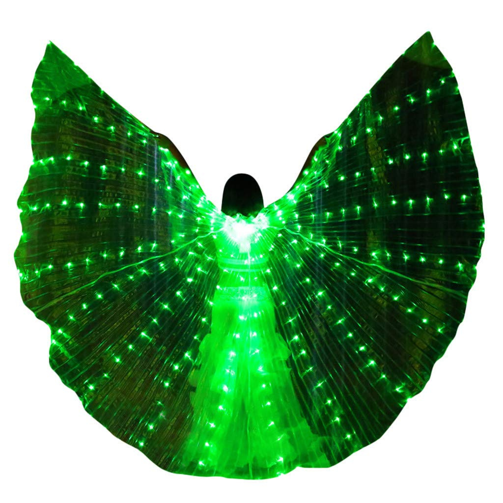 Nstcher Women LED Belly Dance Wings Colorful Butterfly Wings with Telescopic Stick Green