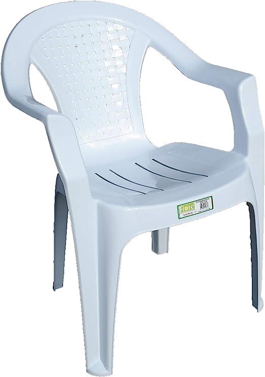 Indoor & Outdoor White Plastic Lawn Chairs Garden Patio Armchair Stacking Stackable (1)