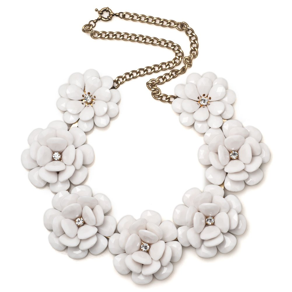 Q&Locket Colorful Chunky Flower Bib Choker Statement Necklace For Women (White)