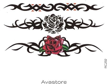 Tatuaje Temporal rosa estilo pulsera Tribal avastore: Amazon.es ...