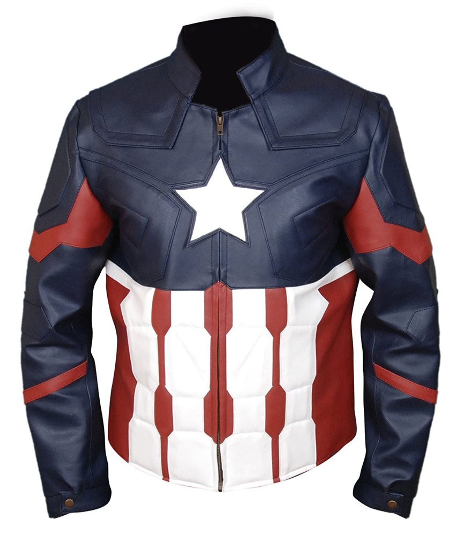 F&H Men's Captain America Civil War Genuine Leather Jacket