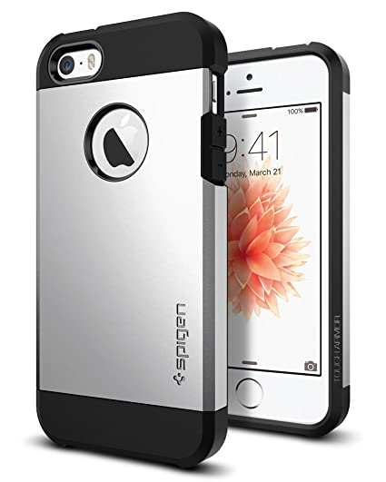 new concept 8c69a c3e73 Spigen Tough Armor iPhone SE Case with Extreme Heavy Duty Protection and  Air Cushion Technology for iPhone SE 2016 - Satin Silver