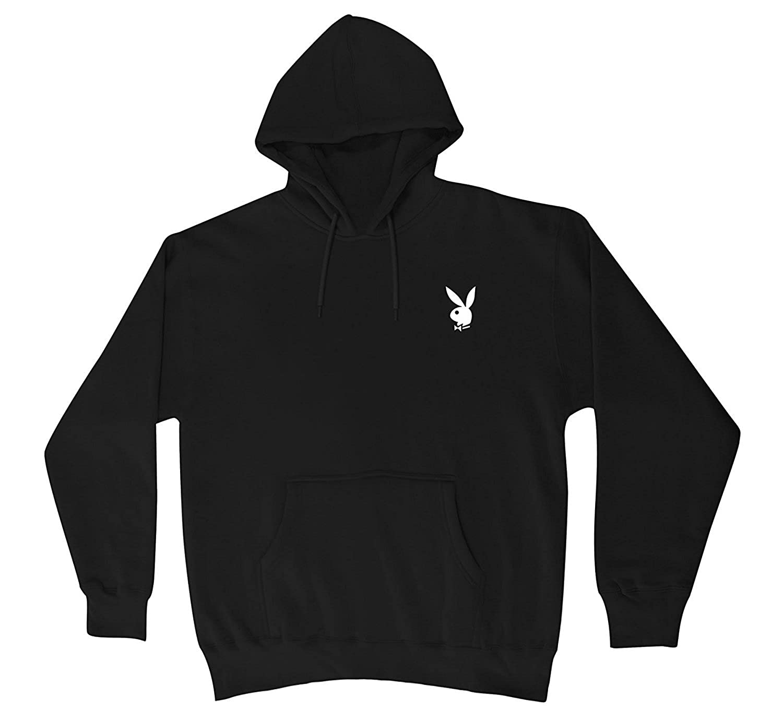 """Playboy"" White Bunny Hooded Sweater Sweatshirt Hoodie New - Black"